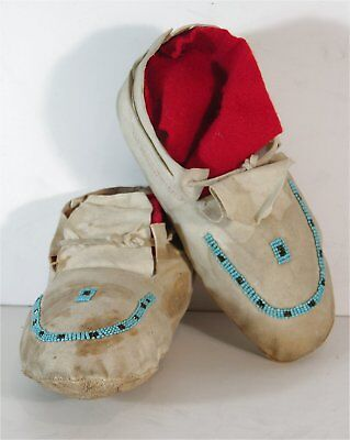 ca1920 PAIR OF PONCA INDIAN BEADED HIDE MOCCASINS FROM 101 RANCH WILD WEST SHOW