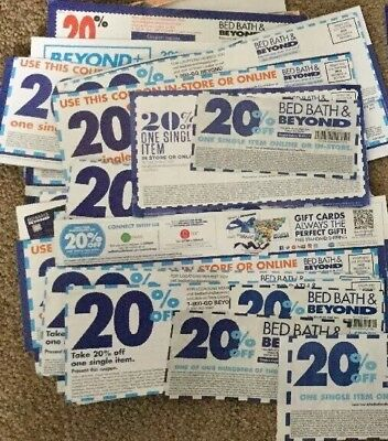 Lot Of 20 Original Bed Bath & Beyond Coupons 20% Off Never Expire Most Store