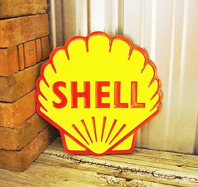 "Shell Gasoline Embossed Diecut Metal Tin Sign 12"" Vintage Garage Gas Station New"