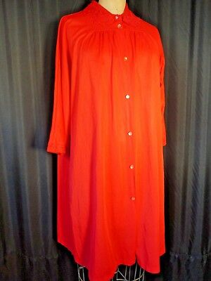 Vintage nylon Negligee chemise 60's red Nightgown Gaymode duster M button Sissy