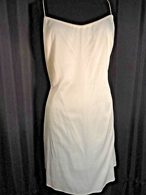 ivory Full Slip dress Satin shift Chemise pinup Elie Tahari sissy L nightgown
