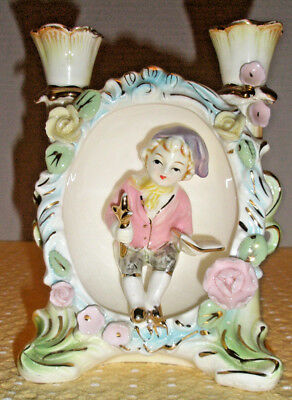 Vtg UCAGCO Porcelain Figural Dual Candle Holder Boy with Cross Bible Flowers