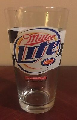 RUSTY WALLACE #2 MILLER LITE BEER Glass Pint Vtg NASCAR Auto Racing