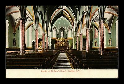 Dr Jim Stamps Us Interior St Marys Church Corning New York View Postcard