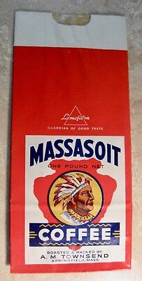 Antique Coffee Advertising Paper Sack With American Indian Logo Springfield Ma