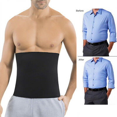 Men's Neoprene Sauna Thermo Sweat Body Shaper Waist Trainer Slimming Corset Belt