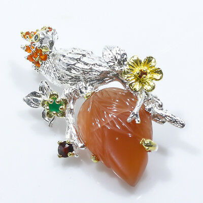 Wonderful Style 21ct+ Natural Sunstone 925 Sterling Silver Brooch/NB00247