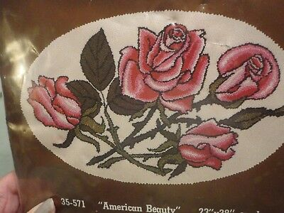 Speed Tufting Rug Crafters Oval Rug Pink Roses Kit American Beauty NIP