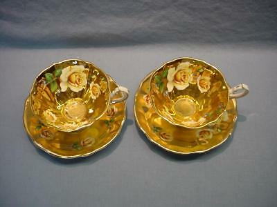 2 English Queen Anne Teacups & Saucers