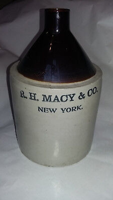 R H Macy & Co Stoneware Jug - 1 GALLON Whiskey Crock - Vtg Macy's