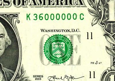 $1 2013 ::36000000:::FANCY TRINARY SERIAL NUMBER:::Federal Reserve Note