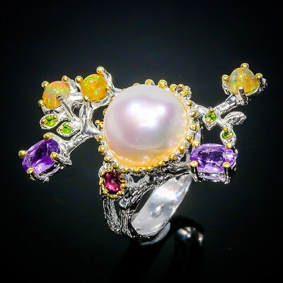 Fancy Art Beauty Natural Pearl 925 Sterling Silver Ring Size 7/R02449