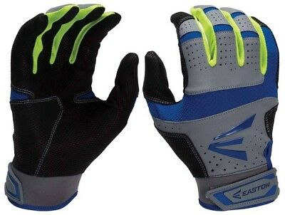 1 Pair Easton HS9 Neon Adult Small Royal Blue/Optic/Grey Batting Gloves A121839