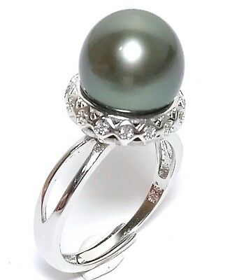 Rare Peacock Black Green Round Tahitian South Sea 11.7mm Pearl Ring Size 7-8