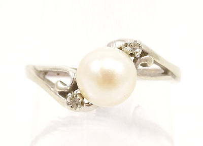 14k Solid Gold Ring Pearl & Diamond Such Great Lustre Can Be Sized Free Shipping