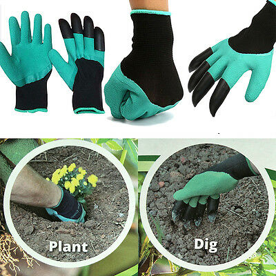 1Pair Garden Genie Gloves For Digging&Planting+4 ABS Plastic Claws Gardening new