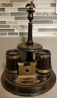 Antique Victorian Era Smoker's Pipe & Cigar Tobacco Stand, Lathe-Turned Brass