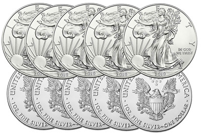 Ten 2019 1oz American Silver Eagles Direct From Mint Box (19se)