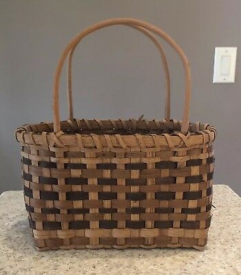 Vintage Native American Cherokee Indian Small Market Basket Handled Purse