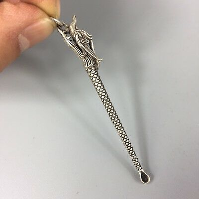 Antique Chinese Rare Collectible Old Tibet Silver Handwork Dragon usable Earpick