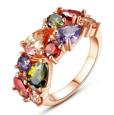 Multi-gemstone Inlaid 18K Rose Gold Filled Finger Ring Size8 Engagement Jewelry