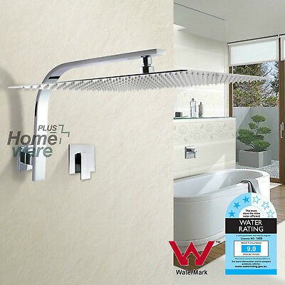 Bath Rainfall 16'' Chrome Slim Shower Head Rose Wall Arm Mixer Tap Set Square