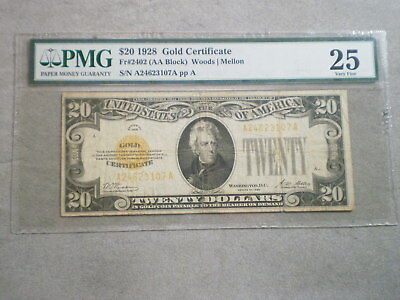 1928 $20 United States Gold Note Vf25 Pmg--Free Shipping-------