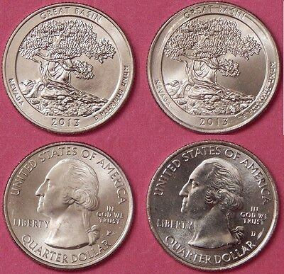 Brilliant Uncirculated 2013 P & D US Great Basin 25 Cents From Mint's Rolls