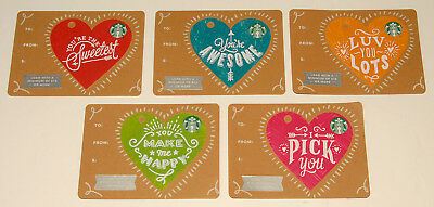 STARBUCKS -  Valentine's Day Heart Dye Cut GIFT CARDS - 2017  NO VALUE *SET of 5