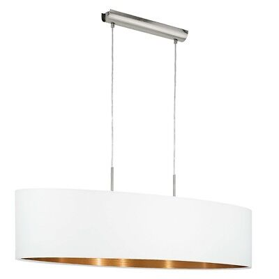 Eglo 95047 Pasteri Hanging Light with Cloth Screen 100cm White, Copper