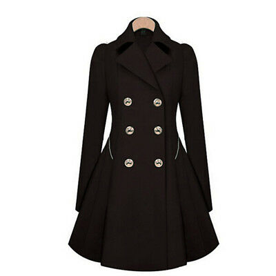 Fashion Women Lapel Long Sleeve Slim Fit Trench Double Breasted Outwear Coat Z