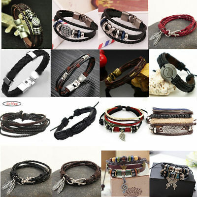 Fashion Men Women Unisex Retro Multilayer Leather Wristband Bracelet Cuff Bangle