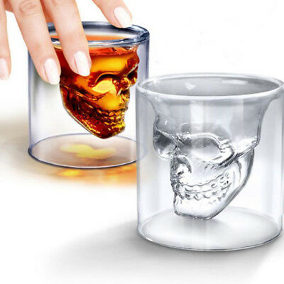 Skull Cocktail Glass Crystal Double Transparent Glass Coffee Drink Cup 75 ML L