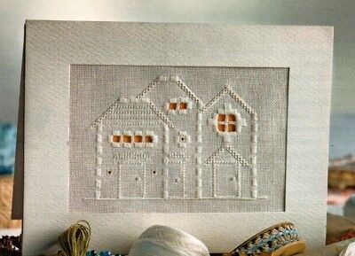 Hardanger embroidery chart. Three cottages card