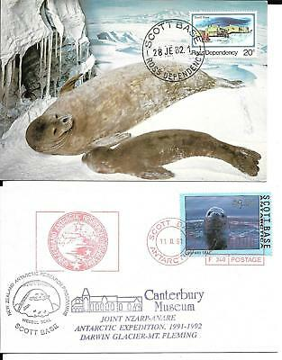Ross Dependency New Zealand 1982 & 91 Antarctic card & cover (C)