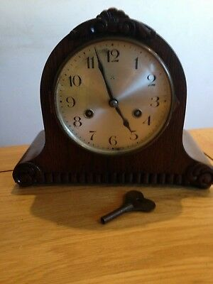 VINTAGE HAC 8 DAY STRIKING MANTEL CLOCK with key in GWC