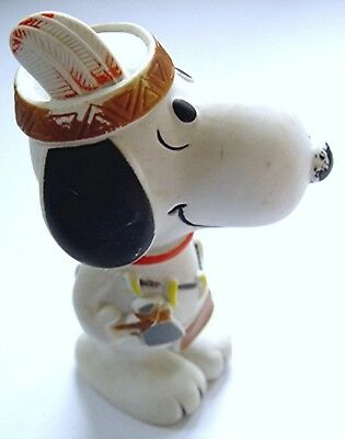 Vintage Peanuts SNOOPY as BRAVE w TOMAHAWK RUBBER BABY TOY by DANARA Late 1970's