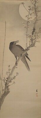 #1141 Japanese Hanging Scroll: Crow on Plum Tree