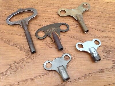 Five Vintage Antique Clock, Toy Winding, Wind Up, Winder Keys