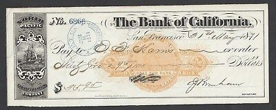 1871 San Francisco Check Signed By Mayor RN-C21