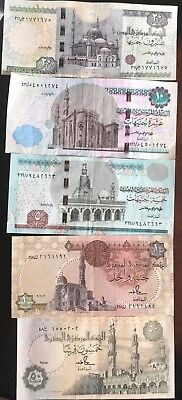 egyptian currency 5 notes including 50piasters 1,5,10 & 20 pounds beatiful color