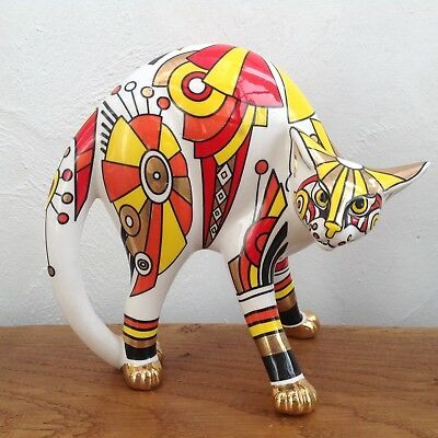 LARGE Cardew Cool Catz Art Deco Cat Figure - Studio China Cats Figurine