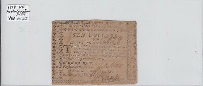 $10 1778 Colonial Currency North Carolina