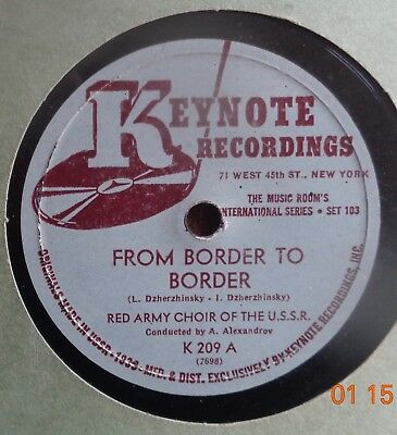 78Rpm-Red Army Choir Of The Ussr Keynote K209 From Border To Border