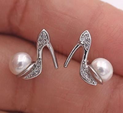 18K White Gold Filled Earrings Clear Topaz Pearl High-heeled Shoes Ear Stud Lady