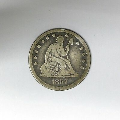 1857 25C Seated Liberty Silver Quarter