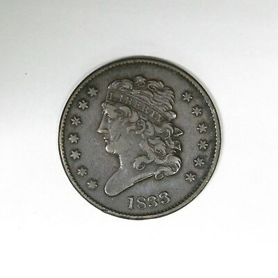 Beautiful 1833 1/2C Classic Head Copper Half Cent