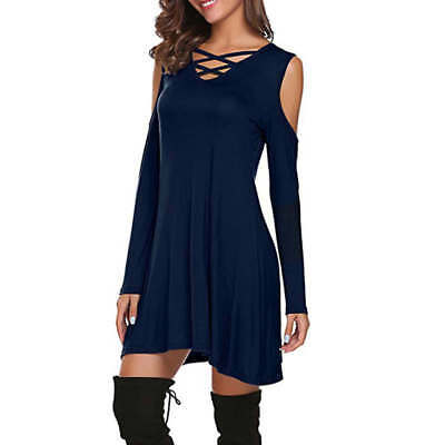Fashion Womens Off Shoulder Casual Strap Cross Bodycon Dress Sexy Loose T-shirts
