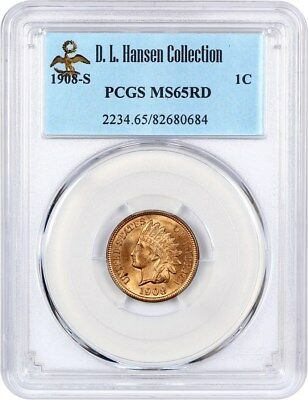1908-S 1c PCGS MS65 RD - Popular Key Date - Tough with Red Designation