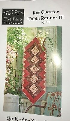 Fat Quarter III Table Runner Quilt, Sew, FABRIC KIT  #3 Marcus Brothers & others